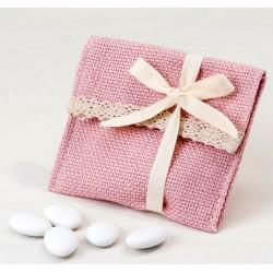 Bolsita algodón rosa con peladillas