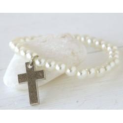 Pulsera perlitas y cruz